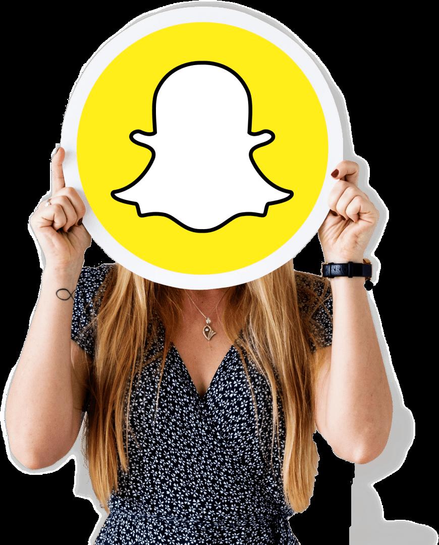 Lady holding the snapchat logo