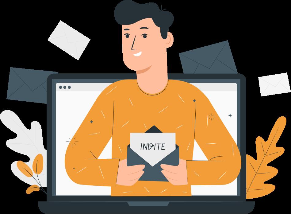 Man holding an invite card