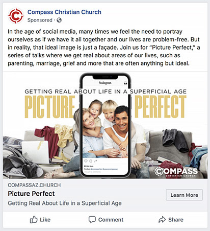Facebook Church Ads Example.