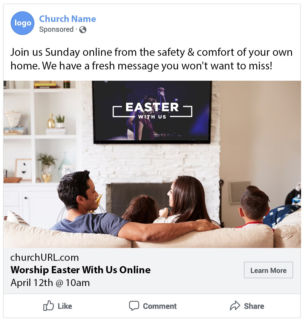 example online church ad
