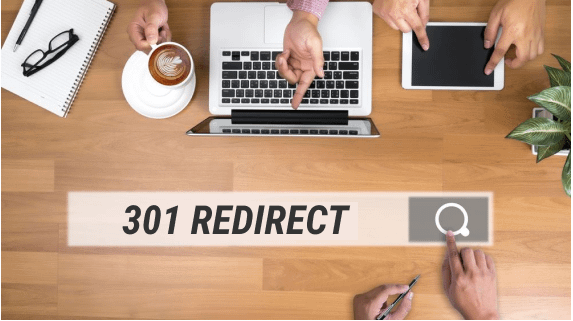 The word '301 Redirect' is shown with people at a desk with a computer