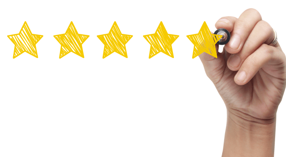 Hand writing 5 star review