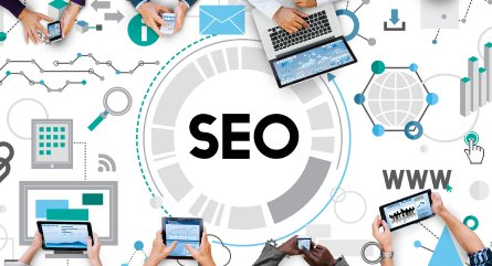 SEO text surrounded by devices