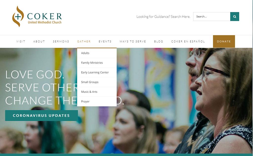 church website site structure