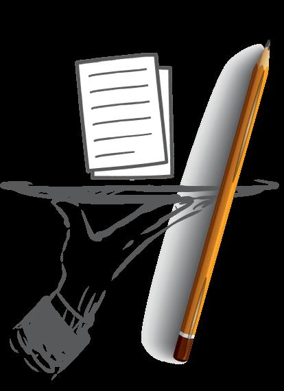 Pencil and Paper Cartoon