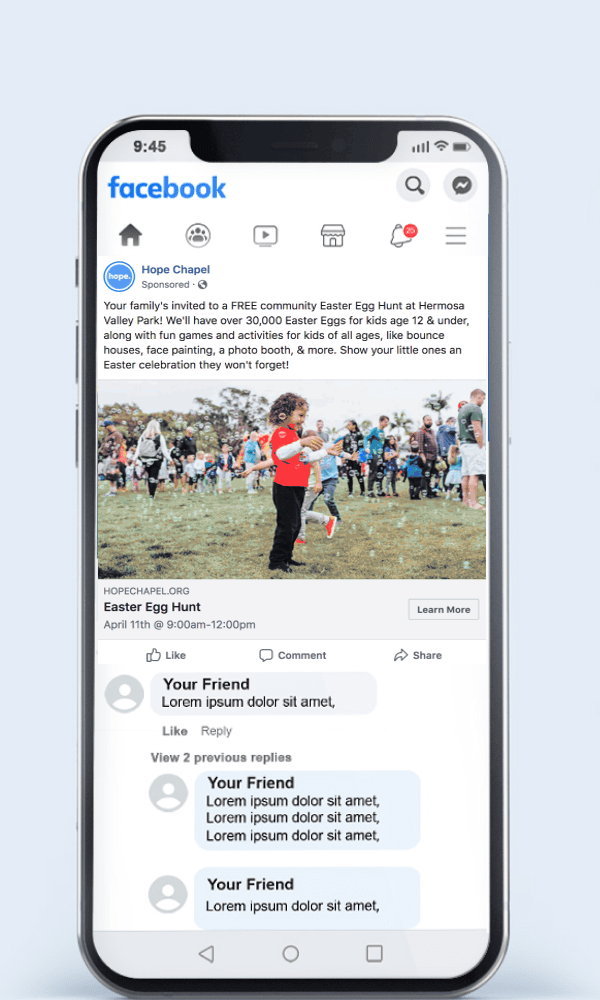 Easter Egg Hunt Facebook Ad Example