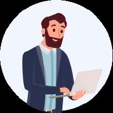 Cartoon man holding a laptop