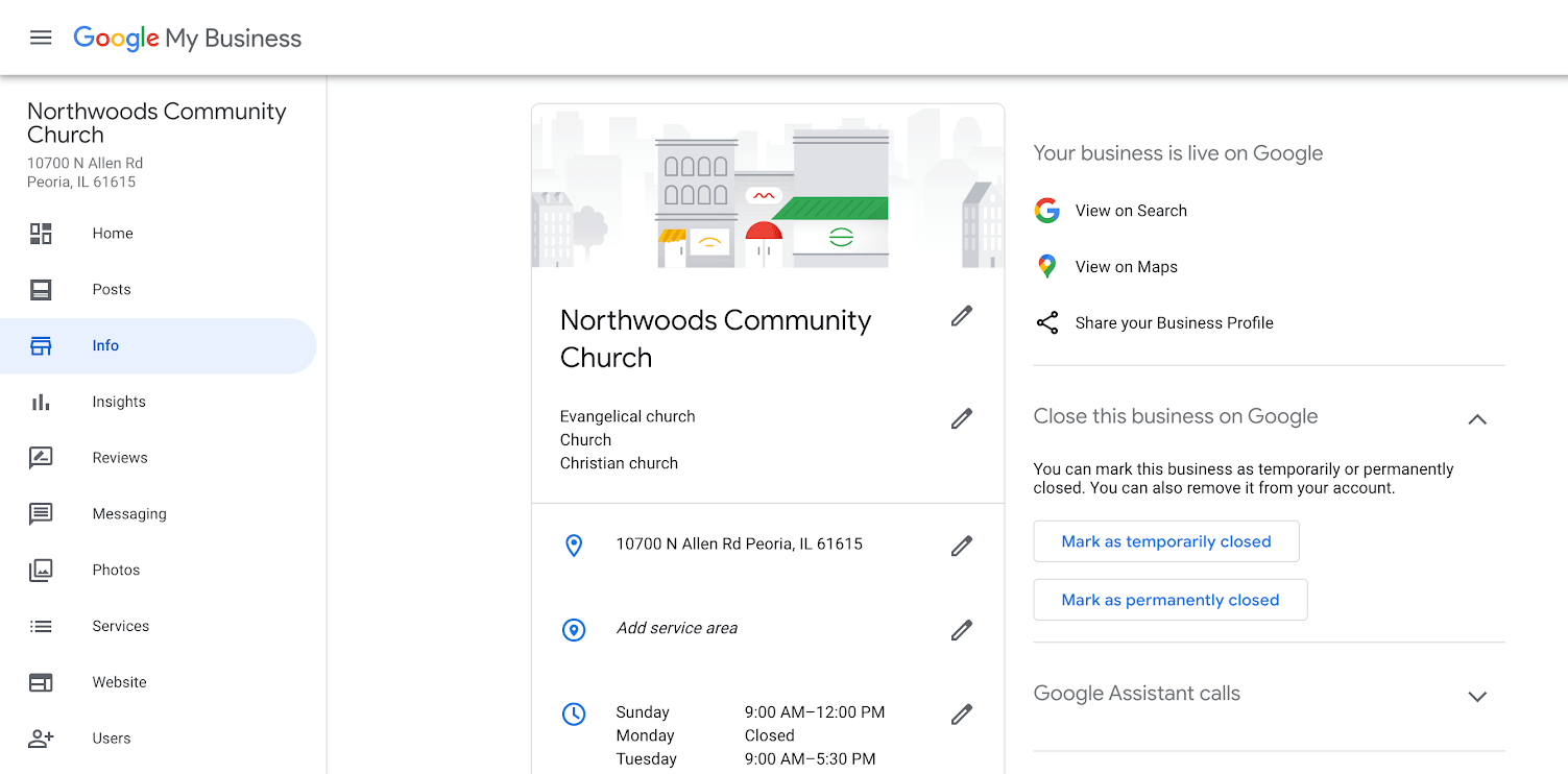 Google My Business Info Interface