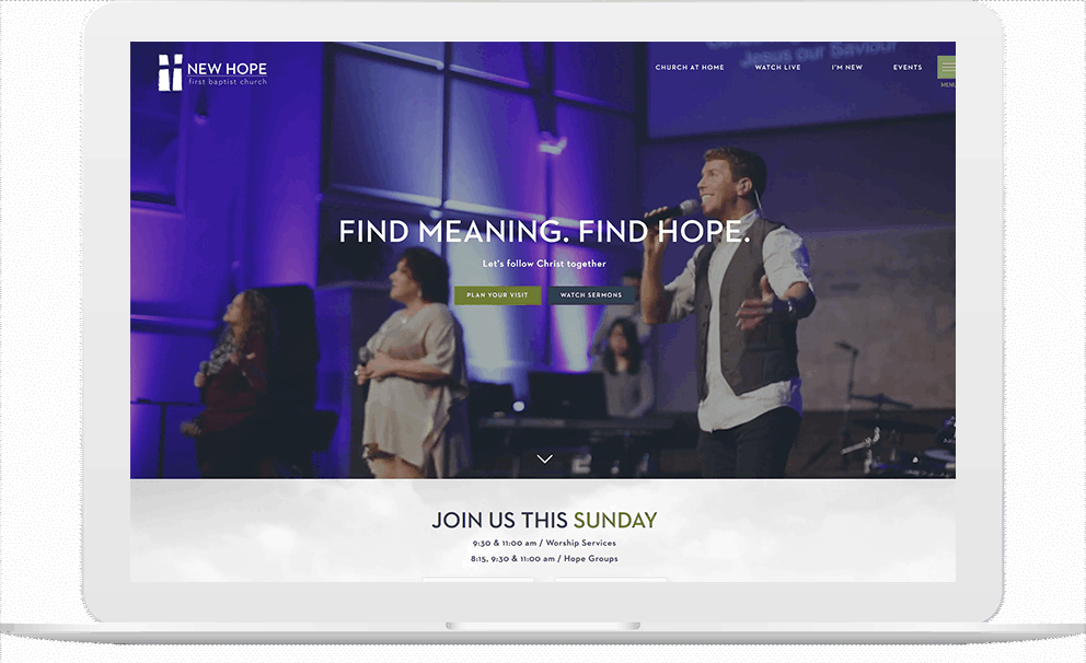 Church Website on a Laptop