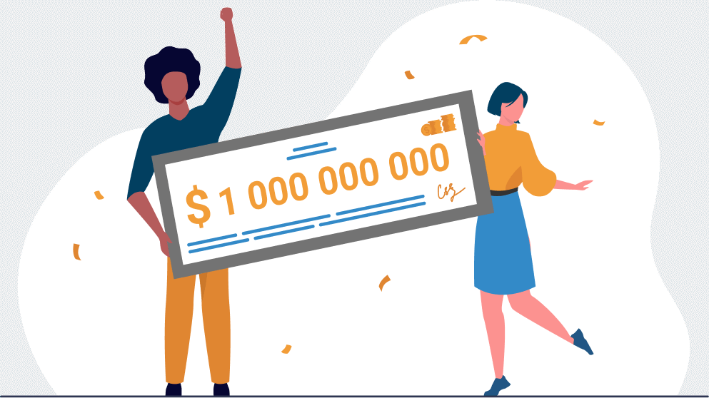 Man and woman holding a grant cheque