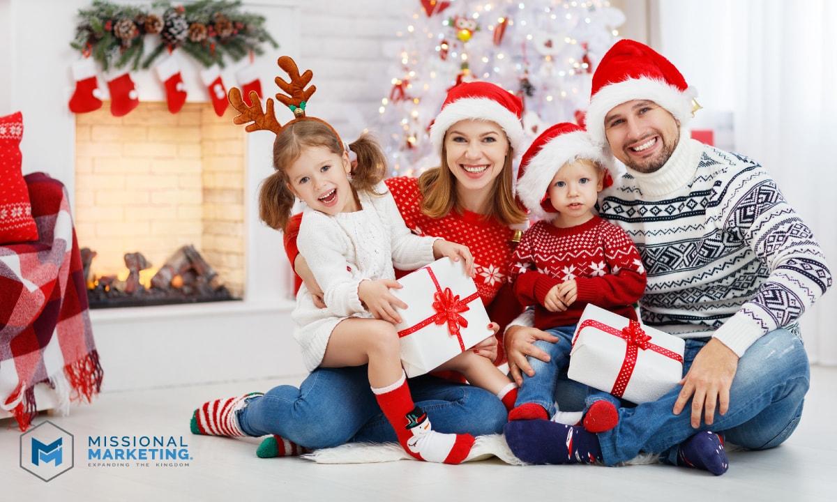 Happy Family at Christmas