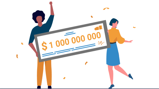 two cartoon people happily holding a novelty check