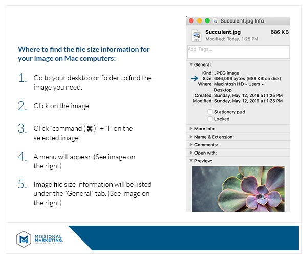 Find Image File Size on a MAC