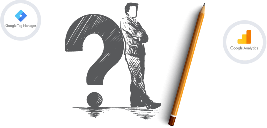 man leaning up against a large question mark and a large pencil in front of him