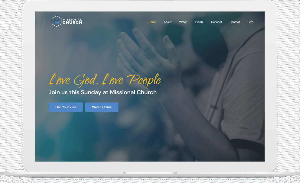 One Page Church Website on a Laptop