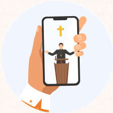 Hand holding a smartphone playing a sermon message