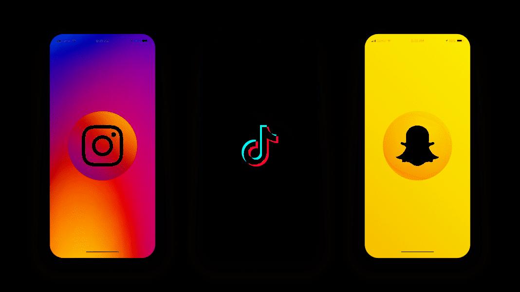 Smartphones with Instagram, Tiktok, Snapchat apps